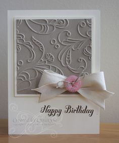 Sweet Simple Birthday Card...with a button a bow.