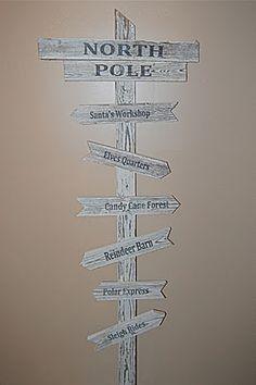 transfer printer ink onto wood! darling North Pole direction sign. :-)