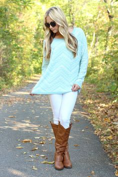 Fall Fashion - mint sweater, white skinny pants and knee high cognac boots #fall2013