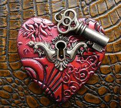 Polymer clay heart pendant by adrianaallenllc on Etsy, $15.00