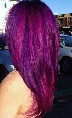 Pink purple hair / straight hair/ long hair