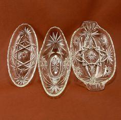 EAPC Star of David 3 Relish Bowls Dishes Anchor Hocking Glass Vtg