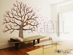 MUST HAVE for my yoga room at home!  Tree Wall Decal Vinyl Wall Sticker Art  Owl on Blossom by NouWall, $145.00 decor, wall art, vinyls, idea, wall decals, blossom trees, owl, wall stickers, design