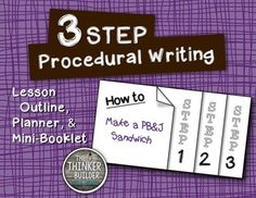 "FREEBIE: 3-Step Procedural Writing {Lesson  Mini-Book} ....Follow for Free ""too-neat-not-to-keep"" teaching tools  other fun stuff :)"