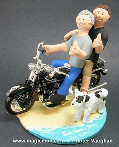 Vroooooommmm!!!... its a wild Harley ride to Wedding-land!!....and these gay grooms couldn't be happier...they are zooming down the beach with their faithful hound at their side... Best wishes to these great guys!!!    $250#gay#wedding_cake_topper#wedding#grooms#same_sex#rainbow#harley#motorcycle#beach#2_grooms#2_men#civil_union#gay_marriage