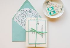 Tiffany Blue DIY Wedding Invitation Suite diy wedding invitations, craft, envelopes, paper doilies, diy tutorial, weddings, tiffany blue, box, blues