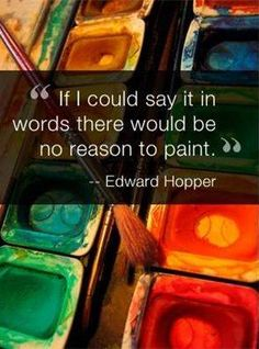 """""""If I Could Say It In Words There Would Be No Reason To paint"""" ~ Edward Hopper"""