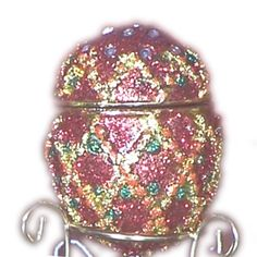 Red Diamond Jeweled Faberge Egg Box with Hinged Lid and Stand