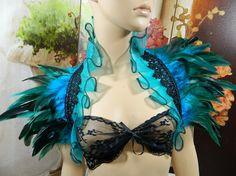 Teal Turquoise Featherstole Bolero Shrug Wrap Stole by Nashimiron, €39.50