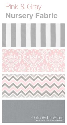 Pink and gray fabrics from Premier Prints that would look lovely in a girl's nursery or bedroom.