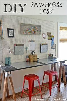 DIY Sawhorse Desk  #lowescreativeideas #backtoschool #organization