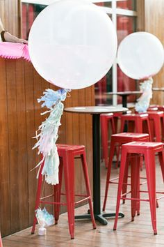 Oh So Beautiful Paper: Paper Party 2014! 3' Confetti-Filled balloons from Shop Sweet Lulu with DIY Pastel Tissue Paper Tassels, Photo Credit: Charlie Juliet Photography #paperparty2014