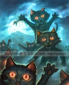 Zombie Cat, Zombies, Undead cat, Vampire cat, Halloween black cat, Zombie Kitties 8x10 Giclee print