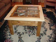 Coffee table/shadow box made from an old window. @Ryan Hernbloom