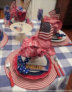 Fourth of July Table Settings | 4th of July Tablescape for Four