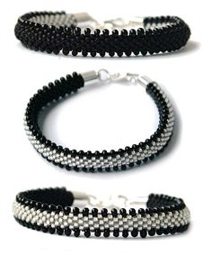 Many crochet patterns with dbead schemas. These flat bracelets are down towards the bottom around #15 & #16.  #Seed #Bead #Tutorials