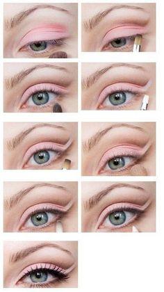 Super pretty pink eye makeup.