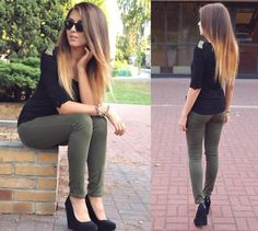 Olive pants, blouse & wedges