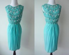 teeeny but gorgeous! 1960s Couture Saks Fifth Avenue Dress, Beaded Turquoise Chiffon. $175.00, via Etsy.