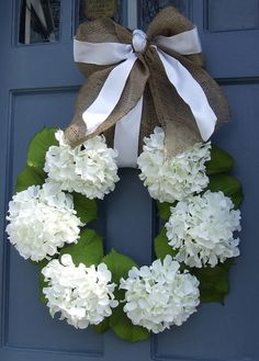 White Hydragnea Wreath with Burlap and White by MonicaMurrayHome, $80.00