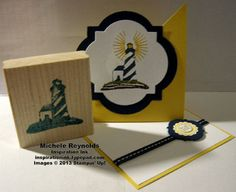 Hand carved lighthouse stamp using Undefined Stamp Carving Kit.  Twisted easel card.