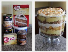 Caramel Apple Trifle!  Just layer it!  So easy - Cake, Caramel, Pudding, Pie Filling, and Whipped Cream... repeat until full :)