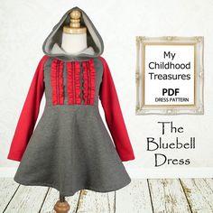 Girls dress pattern, easy sewing PDF pattern,  childrens sewing pattern, baby sewing pattern, The Bluebell Dress