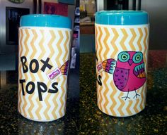 I made a Box Tops container (using an empty Clorox Wipes tub) for my classroom...100% Pinterest inspired! box tops container, wipe tub, boxtop