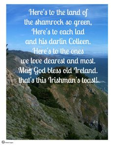 """May God bless old Ireland that's this Irishman's toast!""   #Irish #quotes"