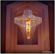 Basilica of Mary Queen of the Universe in Orlando, Florida.  ... Cross above the alter.