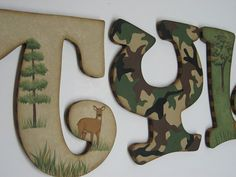 CAMO Hunting Buck and Doe Theme Hand Painted by cosseycreations, $14.98