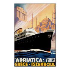 Greece Istanbul Turkey ~ Vintage Travel Poster