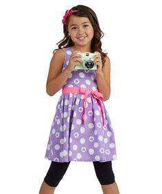 Love this Purple & Pink Polka Dot Dress - Toddler & Girls on #zulily! #zulilyfinds