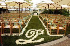 Flying Cloud Farm - Ceremony flower monogrammed aisle runner