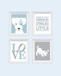 Dog Nursery Art - Baby Boy Nursery Art Puppy Nursery Prints, Blue Baby Nursery Decor Playroom Rules Quote Art,  Kids Wall Art Baby Boys Room on Etsy, $49.99
