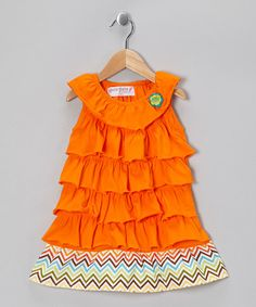 Orange Chevron Ruffle Dress chevron ruffl, patterns, orang chevron, colors, toddler girls, dresses, oranges, ruffl dress, orang ruffl