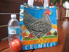 Lunch Tote - Recycled Chicken Feed Bag