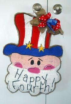 Uncle Sam Fourth of July Burlap Door Hanger by CraftyGirlRealWorld, $25.00