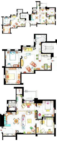 chandler & joey / monica & rachel's apartments. drawings by Inaki Aliste Lizarralde