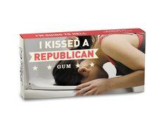 kiss, democrat gum, blue, funni, black people, republican gum, thing, wedding gifts, christmas gifts