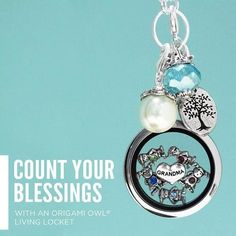 Origami Owl Grandma Grandmother Grandchild Locket NEcklace- Count Your Blessings  www.owllockets.com