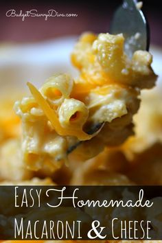 Must PIN and Make Recipe. The whole recipe only takes ONE POT! Do Draining the Pasta! Easy Homemade Macaroni and Cheese Recipe #pasta #recipe #easy #macandcheese #macaroniandcheese #budgetsavvydiva via budgetsavvydiva.com