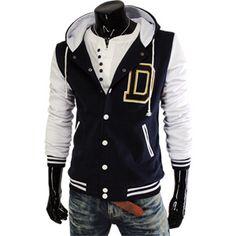(BJ11-NAVY) Mens Casual Applique 2 Tone Hood Baseball Jacket Jumper $33.95