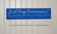 Just Keep Swimming Ribbon Hanger Display  - Wood Wall Rack with Hooks -  Customization & Personalization Available