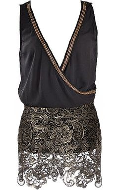 Rough Love Romper: Features a chic overlapping top portion with embroidered gold trim highlighting the edges, horizontal band at the nape to pull it all together, and metallic brocade romper shorts to finish.