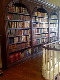 Library hallway at the top of the stairs. What better use of space? And the view from the foyer must be tantalizing.