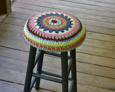 Shabby Chic Stool 30 high with Granny Square by LittlestSister