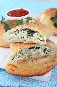 Artichoke, Spinach and Chicken Calzones