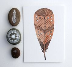 Peaches & Cream Feather  Watercolor Painting  by RiverLuna on Etsy, $10.00