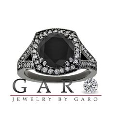Black & White Diamonds Engagement Ring 14k Black Gold.